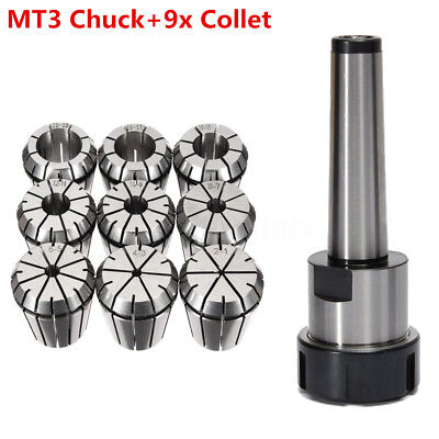 AU 9x ER32 Spring Collet Set 2mm-20mm + MT3 M12 Collet Chuck Holder CNC Milling