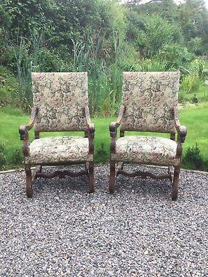 Antique Pair Of Oak Carved Throne Style Hall Chairs