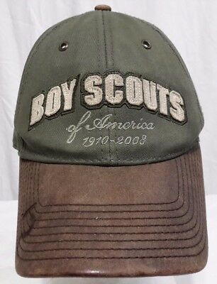 Vintage BSA Boy Scouts Olive Green Leather Collector's Edition Baseball Hat Cap