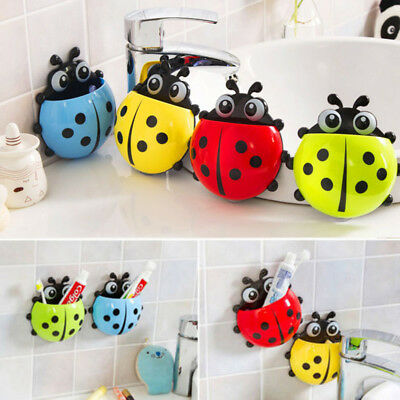 Cute Ladybug Toothbrush Holder Suction Ladybird Toothpaste Wall Sucker Bathroom