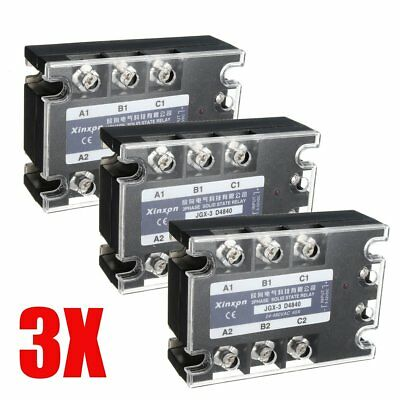 3X Three 3 Phase Solid State Relay 40A SSR Output 24-480V DC-AC 3-32V DC Control