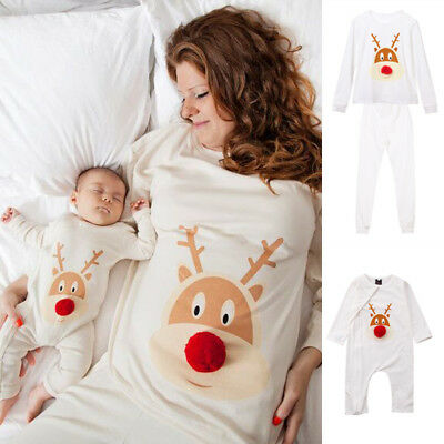 AU Xmas Christmas Kids Baby Adult Family Pajamas Set Deer Sleepwear Nightwear