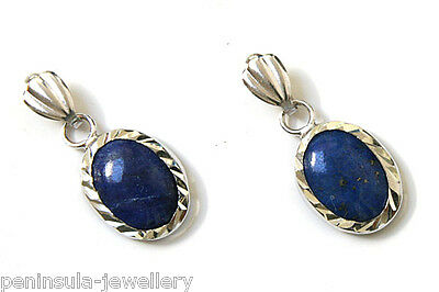 9ct White Gold Lapis Lazuli Drop earrings Gift Boxed Made in UK