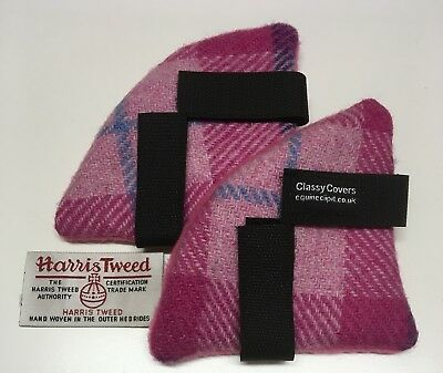 Pink HARRIS TWEED Riding Hat Ear Muffs Backed Pink  Fleece   *gifts* 1pair