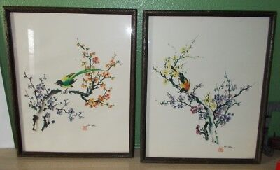 2 ANTIQUE JAPANESE CHINESE WATERCOLOR? PAINTINGS SIGNED Ho-oHu WITH RED STAMP