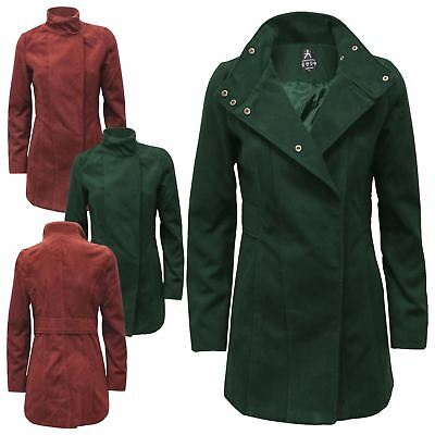 Womens Ladies Ex-Highstore Double Breasted Trench Coat Brushed Fleece Jacket