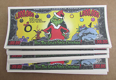 Lot Of 10 Grinch Money Grinch Who Stole Xmas Novelty  Wholesale  Lot Free Ship