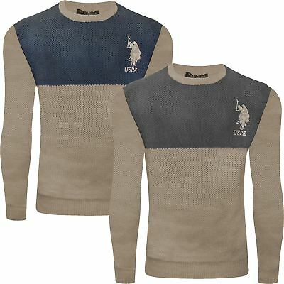 215e91d0e4b7fe New Mens US Polo Assn Weave Knitted Jumper Crew Neck Winter Pullover Sweater