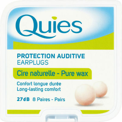 Quies Pure Natural Wax Protection Auditive Earplugs - 8 Pairs - FREE UK DELIVERY
