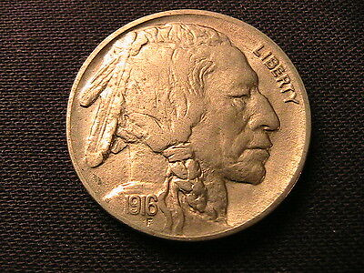 1916-P  BUFFALO Nickel 5C Indian Head Five Cent USA Coin Very Lustrous Ch BU