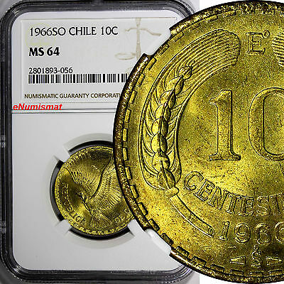 CHILE 1966 SO 10 Centesimos NGC MS64 TOP GRADED BY NGC Santiago Mint  KM# 191