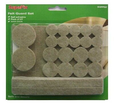 Supafix Felt Pads Guard Set of 27 Assorted Seld Adhesive 5mm Floor Protectors