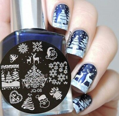 Nail Art Stamping Plates Image Plate Decoration Christmas Reindeers Trees JQ08