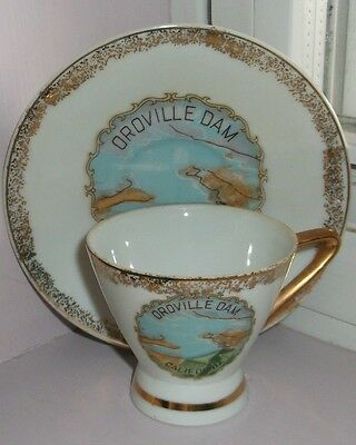 Oroville Dam Decorative Cup And Saucer Made In Japan
