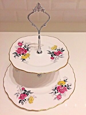 Vintage China 2 Tier CAKE STAND Matching Pink Yellow Floral Flowers ROYAL VALE