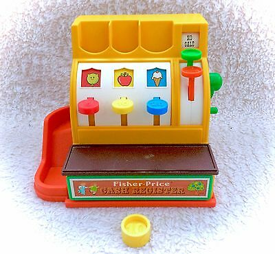 Vintage Fisher Price 1974 Cash Register Complete With One Coin #926 Works 70s
