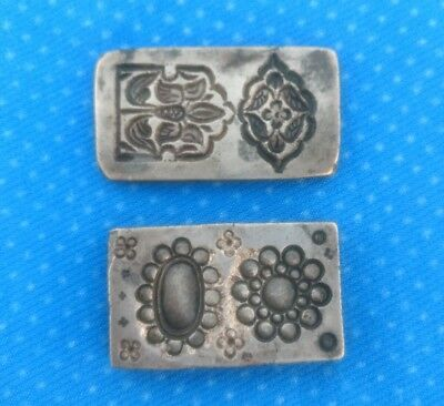 Antique Old Bronze Hand Engraved Lot Of 2 Unique Design Indian Jewelry Mold Die