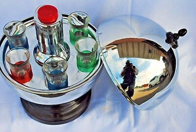 1950s Mid Century Bar in a Chrome Ball with Pump Shot Dispenser and Shot Glasses