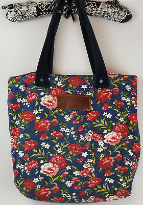 Abercrombie & Fitch Tote Floral Canvas Bucket Bag Leather Tag EUC