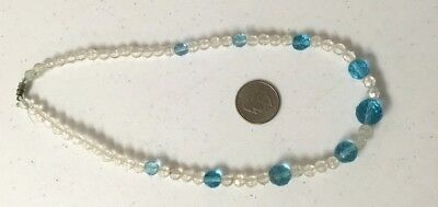 "Vintage Necklace, White/Clear and Light Blue Beaded Necklace 16"" length, Inv1328"
