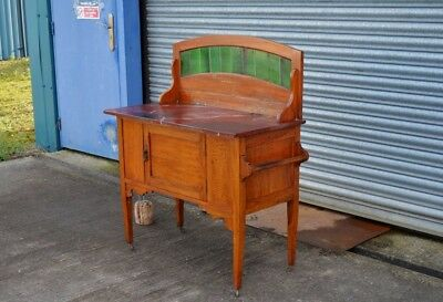 Antique Edwardian Oak Wash Stand Marble Top.