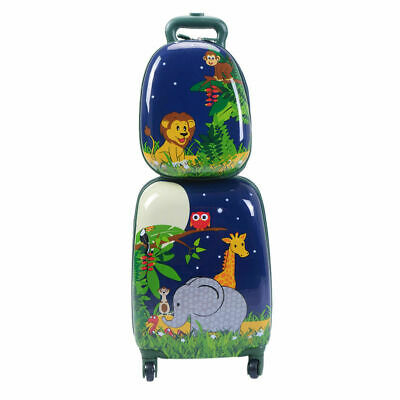 "2Pc 12"" 16"" Kids Luggage Set Suitcase Backpack School Travel Trolley Case ABS"