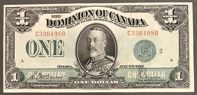 1923 Dominion of Canada $1 Very Fine Condition S/N: C3364980/A