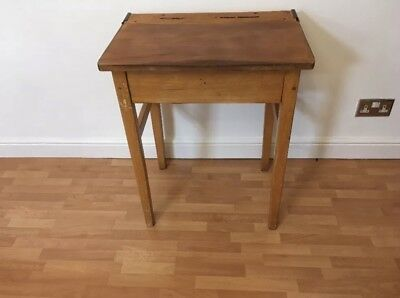 Vintage Wooden Lift Top School Desk 1960's 1970's Retro