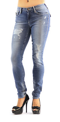 True Religion Halle Mid Rise Super Skinny Ripped Denim High Fashion Jeans