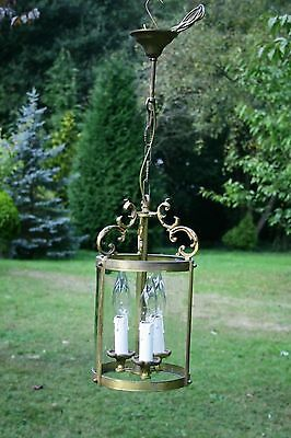 A pretty vintage French brass cylindrical lantern (DA1006)