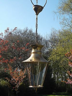 Pretty vintage French brass glass round lantern (P30)