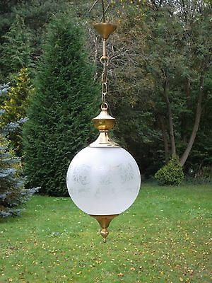 A pretty vintage French brass globe light lantern with frosted glass(S1)