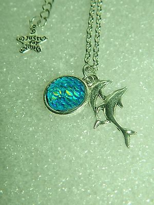 """Dolphin pendant with fish scale framed bead 20"""" SP chain w/ extension ocean sea"""
