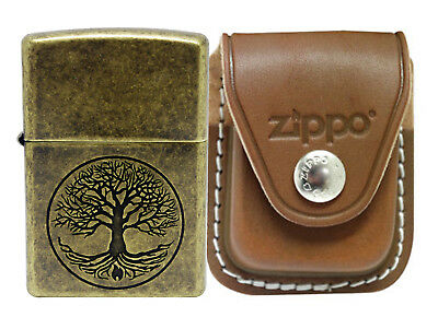 Zippo 29149 Tree of Life Antique Brass Lighter + LPCB Brown Leather Pouch Clip