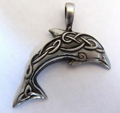 NEW Pewter Celtic Dolphin Pendant FREE SHIPPING