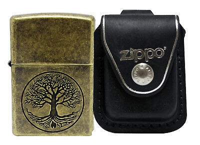 Zippo 29149 Tree of Life Antique Brass Lighter + LPLBK Black Leather Pouch Clip