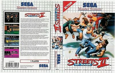 Street Of Rage 2 Sega Master System Replacement Box Art Case Insert Cover