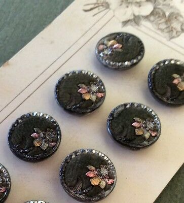 Set 12 Victorian Dress Buttons, Gray Velvet Perfume, Tinted Flowers, Never Used