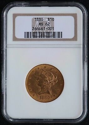 1880 $10 Liberty Head Eagle MS 62 Certified by NGC Gold Coin