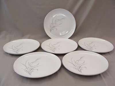 Castle Court Fine China Wheat Spray Pattern 6 Dinner Plates, Made In Japan