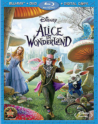 Alice in Wonderland (Blu-ray/DVD, 2010, 3-Disc Set) With Slip Cover!!!