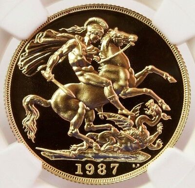 1987 Gold Great Britain 2 Pounds St. George Coin Ngc Proof 69 Cameo