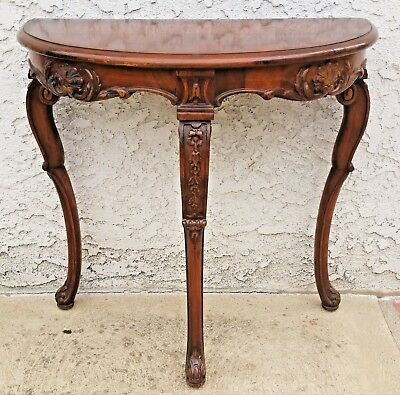 Vtg Walnut Carved French Demi Lune Half Round Entryway Narrow Lamp Table LA Area