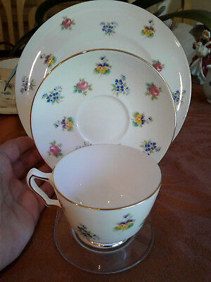 3 Pc. set Crown Staffordshire Bone China Floral Luncheon set Cup, Saucer, plate