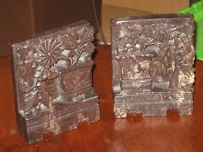 Antique Pair Asian Chinese Hand Carved Soapstone Bookends Asian Art