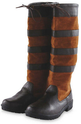 Outdoor Ladies Country Riding Boots Waterproof 4 5 6 7 Womens Pony Horse Brown