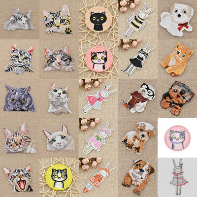 Cute Embroidered Cat Dog Patch Iron On Fabric Applique DIY Hat Bag Sewing Craft