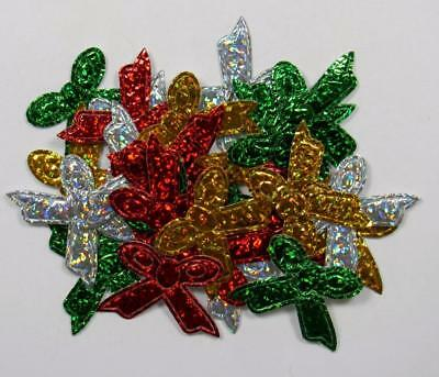 BB SHINY BOWS pk of 25 christmas embellishment hair bow craft xmas