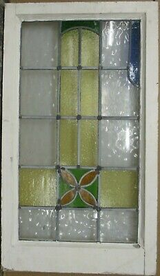 "LARGE OLD ENGLISH LEADED STAINED GLASS WINDOW Cute Floral Abstract 19"" x 33"""