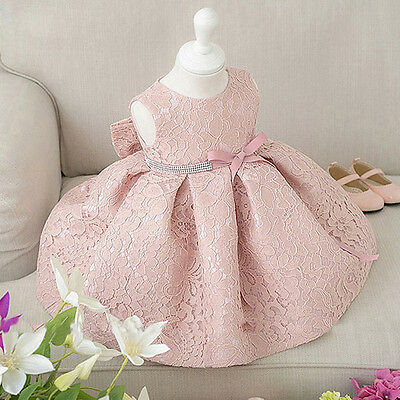 Christmas Kids Flower Girl Dress Gown Formal Baby Lace Wedding Party Dresses AU